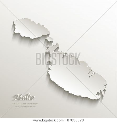 Malta map card paper 3D natural vector