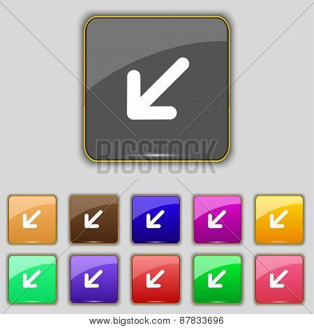 Turn To Full Screenicon Sign. Set With Eleven Colored Buttons For Your Site. Vector
