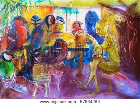 Fantasy Teatime With Birds And Fairy Friends, Detailed Multicolor Painting