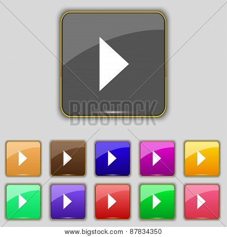 Play Button Icon Sign. Set With Eleven Colored Buttons For Your Site. Vector