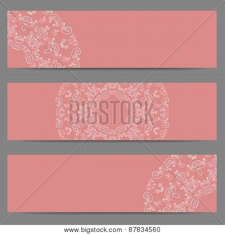 Pink banners with ornate pattern