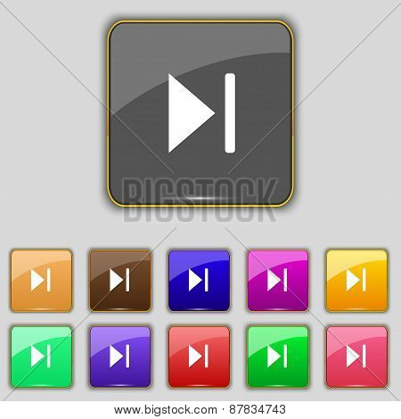 Next Track Icon Sign. Set With Eleven Colored Buttons For Your Site. Vector