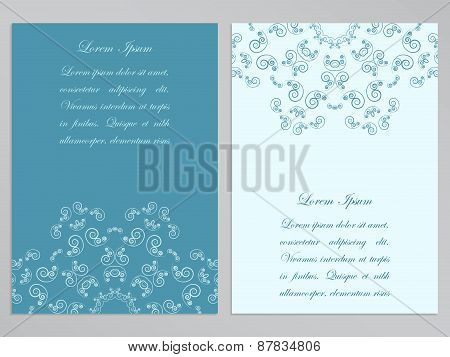 Blue and white flyers with ornate floral pattern