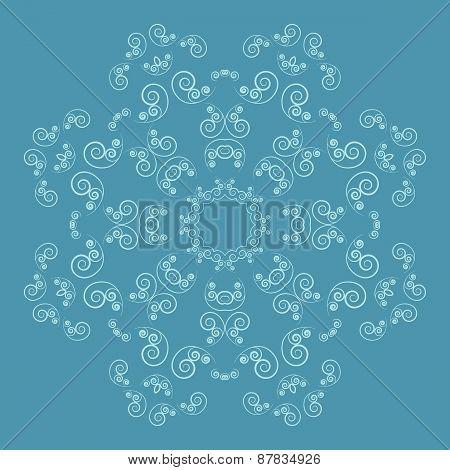 Ornate flower pattern on blue background