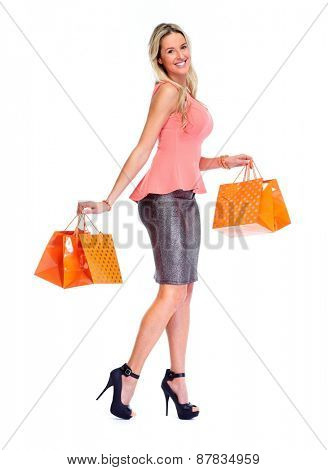 Beautiful woman with shopping bags isolated white background.