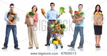 People with vegetables and fruits isolated on white background.
