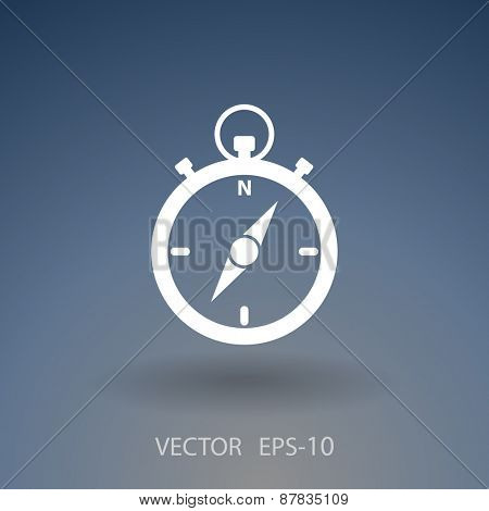 Flat long shadow Stopwatch icon, vector illustration