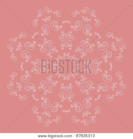 Ornate flower pattern on pink background