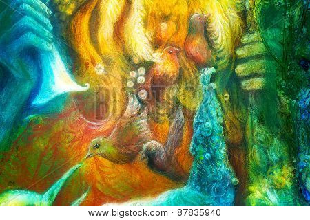 Golden Sun God, Blue Water Goddess, Fairy Child And A Phoenix Bird, Fantasy Imagination Colorful Pai