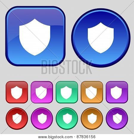 Shield, Protection Icon Sign. A Set Of Twelve Vintage Buttons For Your Design. Vector
