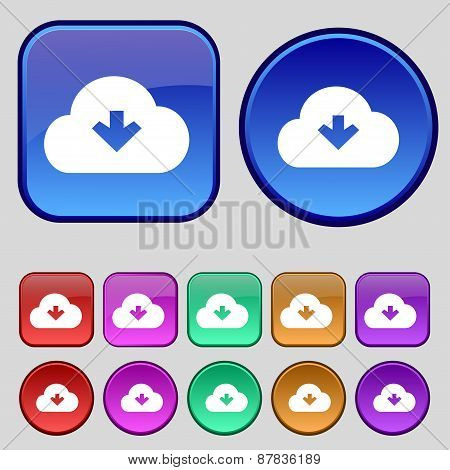 Download From Cloud Icon Sign. A Set Of Twelve Vintage Buttons For Your Design. Vector