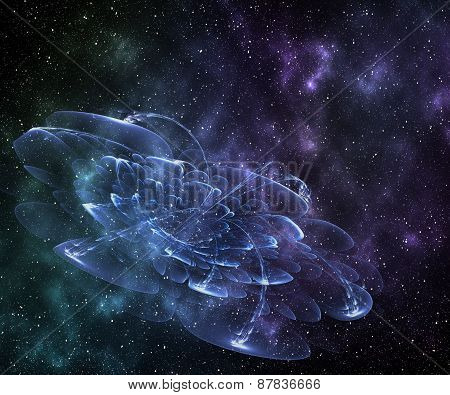 Abstract Cosmic Cloud, Flowers,  Stars Of A Planet And Galaxy.  Fantasy Color Background For Creativ