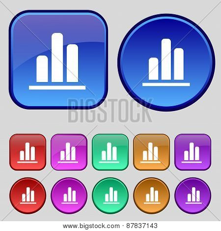 Growth And Development Concept. Graph Of Rate Icon Sign. A Set Of Twelve Vintage Buttons For Your De