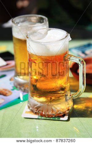 Chilled beer glasses