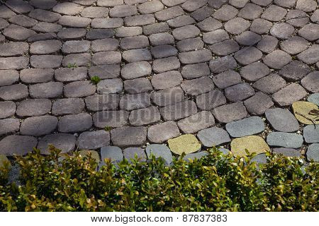 Figured paving slabs