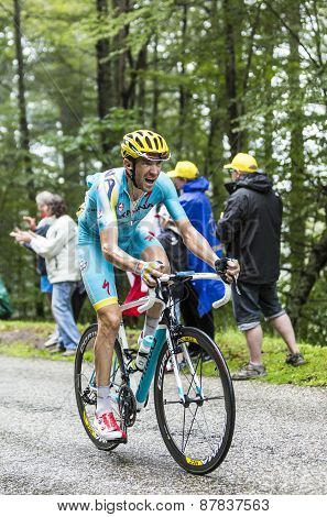 The Cyclist Alessandro Vanotti Climbing Col Du Platzerwasel - Tour De France 2014