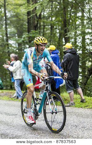 The Cyclist Alessandro Vanotti Climbing Col Du Platzerwasel - Tour De France 2014