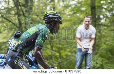 The Cyclist Kevin Reza Climbing Col Du Platzerwasel - Tour De France 2014