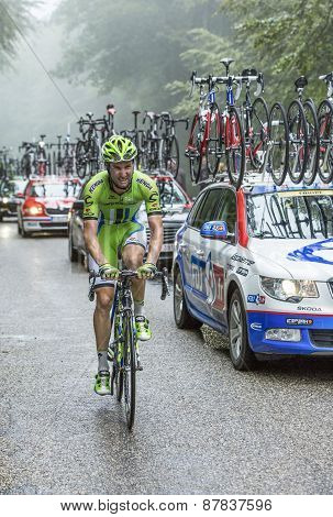 The Cyclist Fabio Sabatini Climbing Col Du Platzerwasel - Tour De France 2014