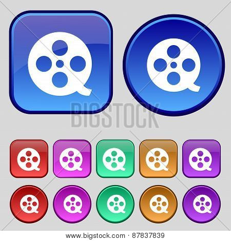 Film Icon Sign. A Set Of Twelve Vintage Buttons For Your Design. Vector