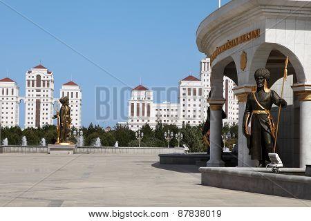 Ashgabat, Turkmenistan - October, 15 2014: Monument Historical Figure In The Park. Ashkhabad, Octobe