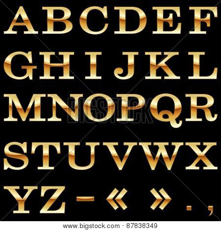 Gold alphabet vector template isolated on black background.