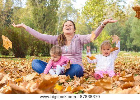Happy Mother Enjoyment Beautiful Autumn Day