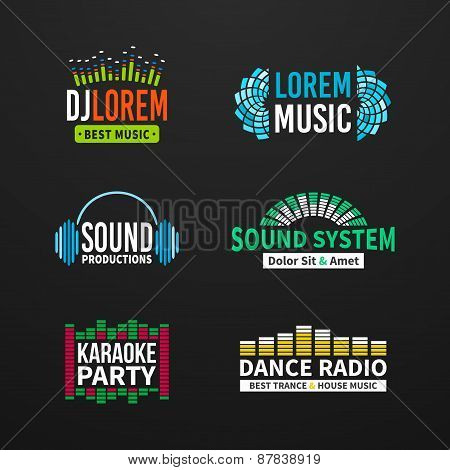 Fourth set music equalizer emblem vector on dark background