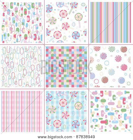 Vector set abstract colorful sweet seamless patterns.