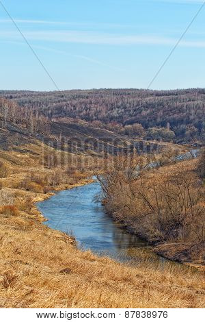 Spring Landscape With The River And The Blue Sky, Vertical Composition