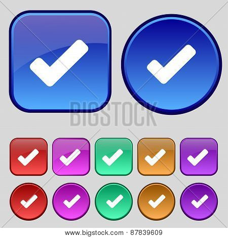 Check Mark, Tik Icon Sign. A Set Of Twelve Vintage Buttons For Your Design. Vector