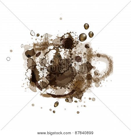 Vector Illustration Coffee Stain in shape of cup with coffee drops