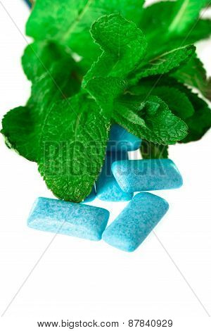 Blue Chewing Gum On White -  Food And Drink