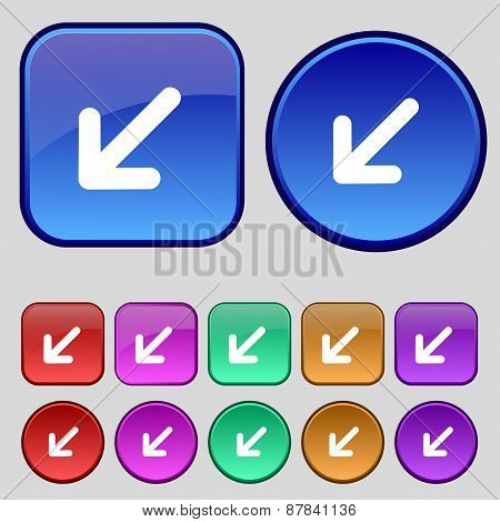 Turn To Full Screenicon Sign. A Set Of Twelve Vintage Buttons For Your Design. Vector