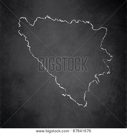 Bosnia and Herzegovina map blackboard chalkboard raster