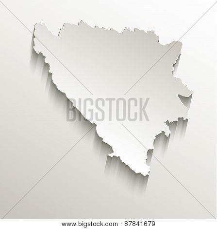 Bosnia and Herzegovina map card paper 3D natural raster