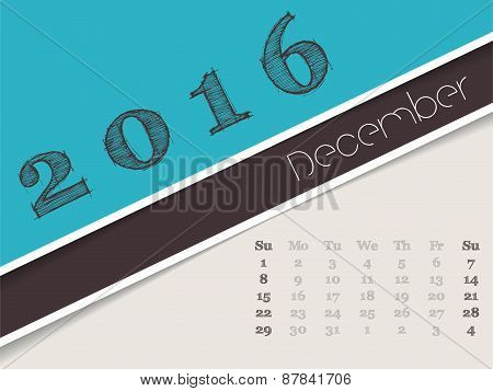 Simplistic December 2016 Calendar Design