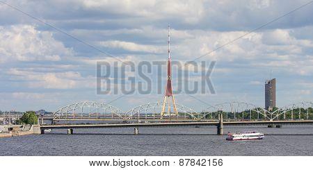 Railway Bridge And Tv Tower In Riga, Latvia