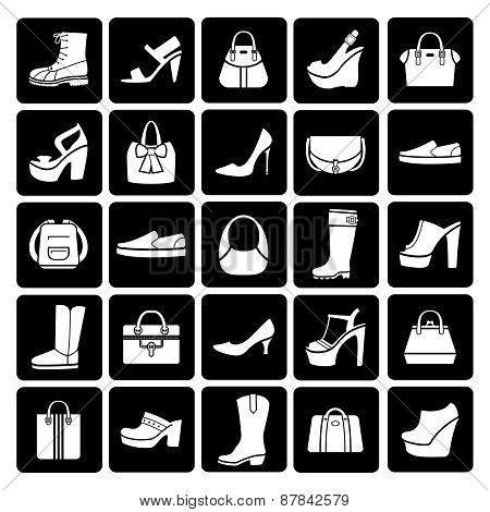 Fashion vector shoes and bags