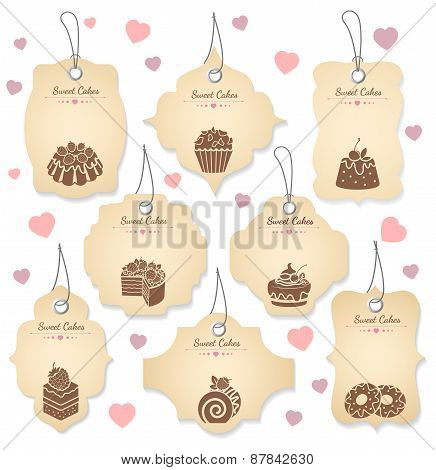 Cakes and desserts tag labels