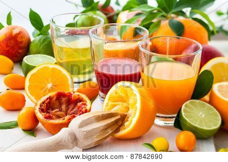 Different fresh citrus juices.