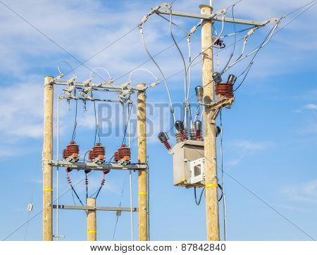 High voltage power divider and transformer on blue sky