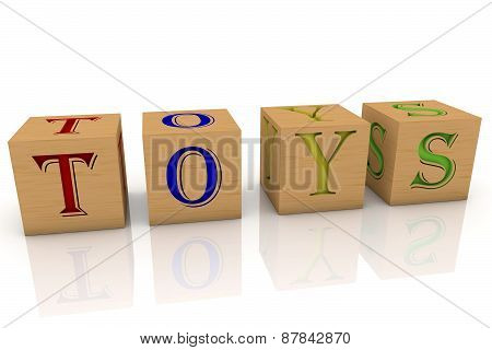 Wooden cubes with inscription Toys
