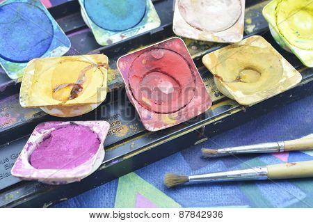 Water Color Paint Box And Paintbrush