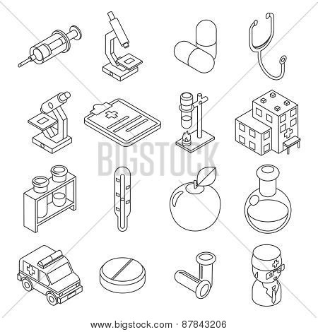 Medicine and health care isometric 3d line icons