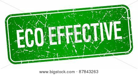 Eco Effective Green Square Grunge Textured Isolated Stamp