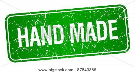 Hand Made Green Square Grunge Textured Isolated Stamp