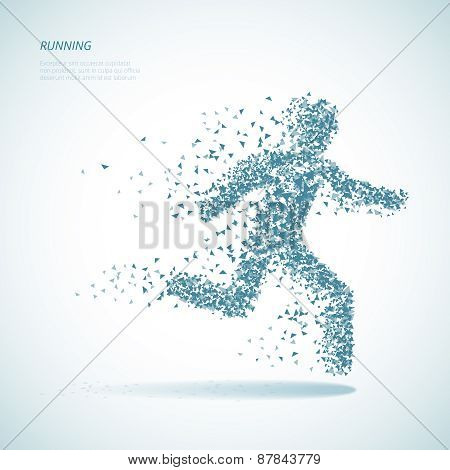Running triangular man pictogram