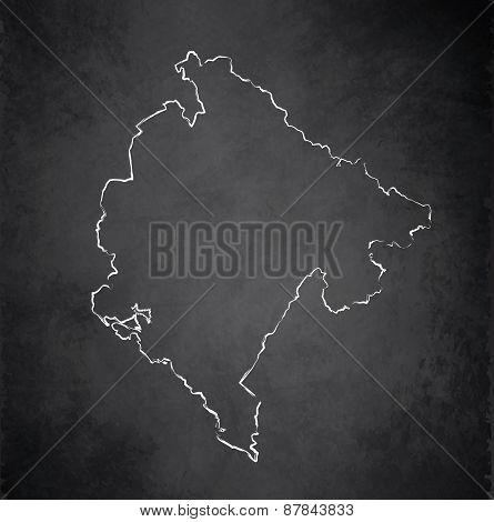 Montenegro map blackboard chalkboard raster