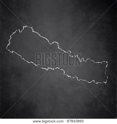 Nepal map blackboard chalkboard raster